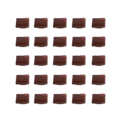 Rosalie au chocolat, purée de framboise sauvage enrobée de chocolat
