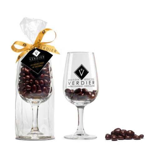 """Verre gravé """"Maison VERDIER"""" remplit de Raisins Dorés au Sauternes (150gr)"""